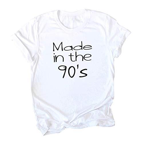 TEFIIR 90er Jahre Brief Kurzarm Damen T-Shirt Streetstyle Lässig Stilvoll und Bequem T-Shirt Lose Tops Geeignet für Freizeit, Dating und - 80's Kostüm Kunststoff Maske
