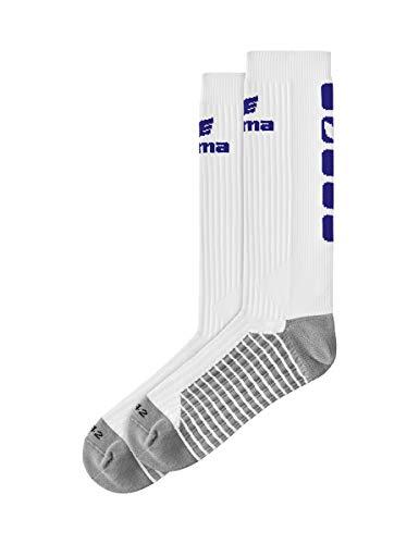 Erima Erwachsene Classic 5-C Socken lang, weiß/New Navy, 39-42