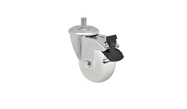 325 lbs Schioppa L12 Series Non-Marking Nylon Wheel GLEHD 312 NT G 3 x 1-1//4 Swivel Caster with Total Lock Brake 12 mm Diameter x 25 mm Length Threaded Stem