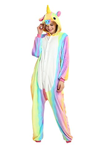 Tuopuda Pyjama Licorne Adulte Unisexe Kigurumi Combinaison Animaux Cosplay Costume Halloween Noel Party Soirée de Déguisement (M ( 158 -167 cm height), coloré)
