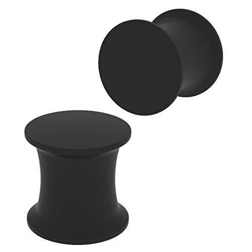 2 x 8mm Schwarz Silikon Ohr-Plug Piercing Schmuck Ohr-Piercing Sattel-Verschluss