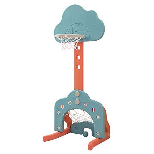 YGBH Basketball Standplatz für Kinder - Verstellbare, Rückenbrett Korb-Netz Set mit Fußball Golf Spiel 3 in 1 149cm für Indoor & Outdoor Garten Mädchen Jungen Geschenke -