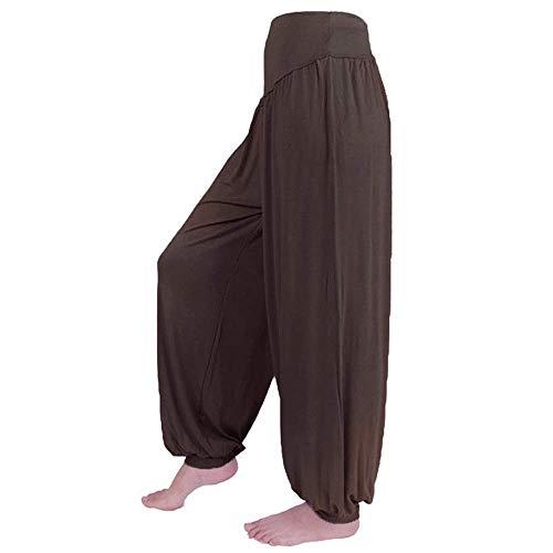 WOZOW Yoga Hosen Damen Casual Solid Einfarbig Aladdin Indian Thiland Lang Long Loose Lose Bloomers Baggy Soft High Waist Bequem Haremshose Pumphose Trousers Stoffhose Freizeithose (S,Kaffee)