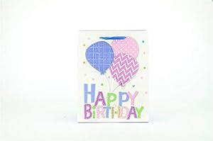 Shatchi 7169-GIFT-BAG-PURPLE-M - Bolsa de regalo para cumpleaños (32 x 26 x 12 cm), color morado