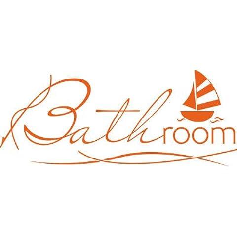 Graz Design–Adhesivo decorativo para pared Tattoo para cuarto de baño Texto Bathroom Velero, 035 naranja pastel, 139 x 57 cm