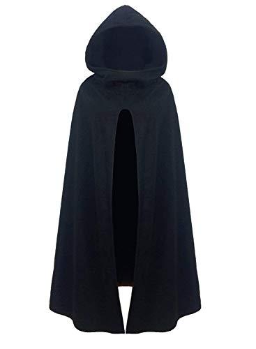 Futurino Damen Winter/Herbst Gotisch Lose Umhang mit Kapuze Mantel Poncho Kap Outwear Longstrickjacke (L, Schwarz)