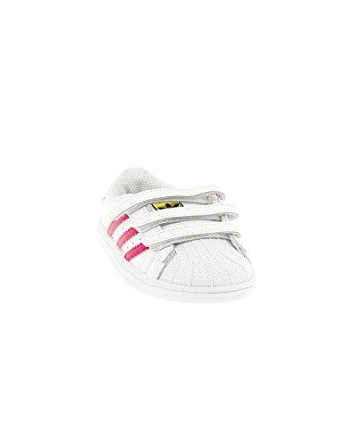 adidas Superstar Foundation CF I, Baskets Basses Unisexe-Bébé Multicolore - Blanco / Rosa (Ftwbla / Rosfue / Ftwbla)