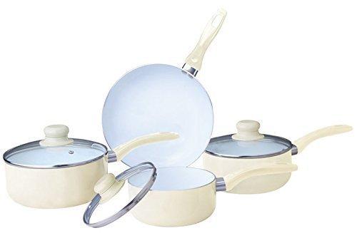 7PC CERAMIC COOKWARE SET SAUCEPAN POT GLASS LID KITCHEN FRY PAN FRYING NON STICK (cream) by Prima