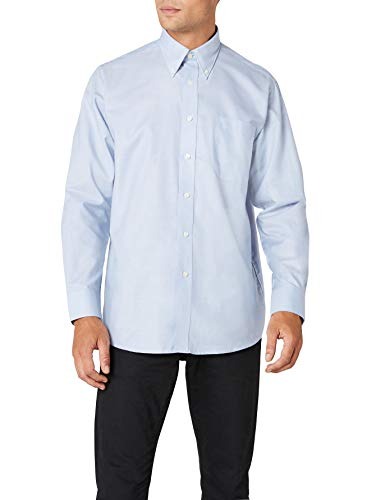 Fruit of the loom oxford, camicia uomo, blu (oxford blue), x-large