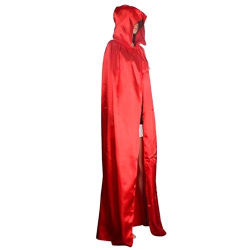 Kostüme Rot Cape Erwachsene Kapuzen (HLHN Damen Herren Halloween Party Kapuzen Umhang, Mittelalterlicher Hexe Satin Karneval Fasching Kostüm Cape mit Kapuze - 4 Größe & 3 Farbe für Kinder /Jugend/familien (XL,)