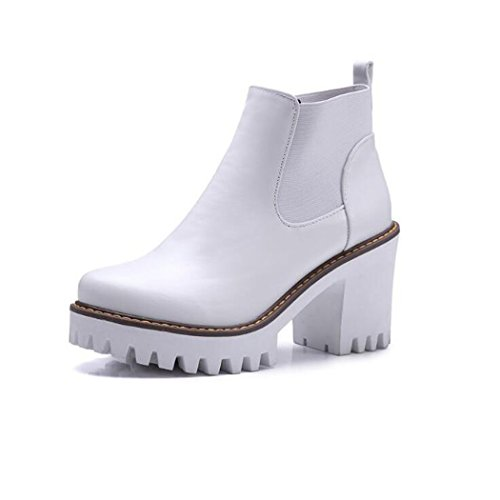 ZQ@QXIn autunno e in inverno, testa tonda impermeabile dello spessore di Taiwan con scarpe con i tacchi alti elegante grandi numeri di massa materie Stivali Stivali femmina White