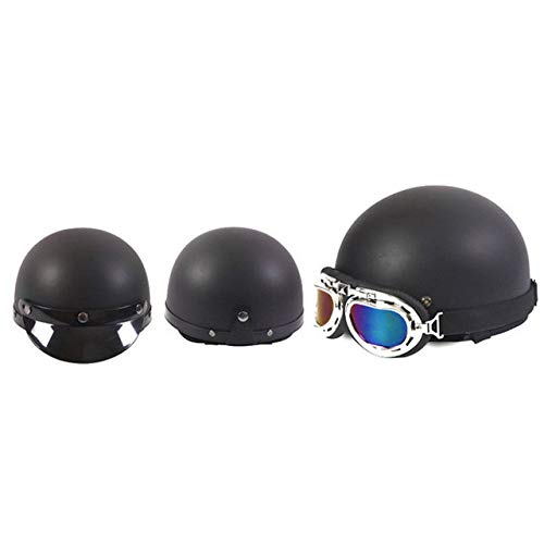 Preisvergleich Produktbild Matte Motorradhelm Open Face Semi-Motorrad mit Brille und abnehmbarem Kragen Retro Style Helm 6
