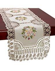 Gestickte Crochet Lace (Handgefertigte Häkelmütze Baumwolle Lace Tischläufer und Dresser Schal, Ribbon Stickerei, rectangle18X 137,2cm, baumwolle, beige, rectangle 18*54 inch)