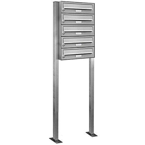 AL Briefkastensysteme 5er Briefkasten als Standbriefkasten, 5 Fach Premium Briefkastenanlage in Edelstahl rostfrei Postkasten modern