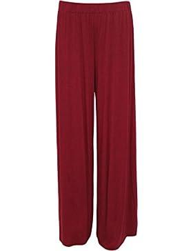 NOUVEAUX mujeres tamaño grande pantalón Large pierna inferior évasé lisos, Llanura pantalón 40–58