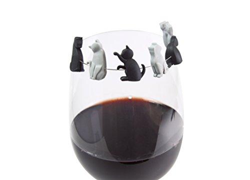 Kätzchen Glasmarker für Weinglas - 6 Stück - Teebeutelhalter