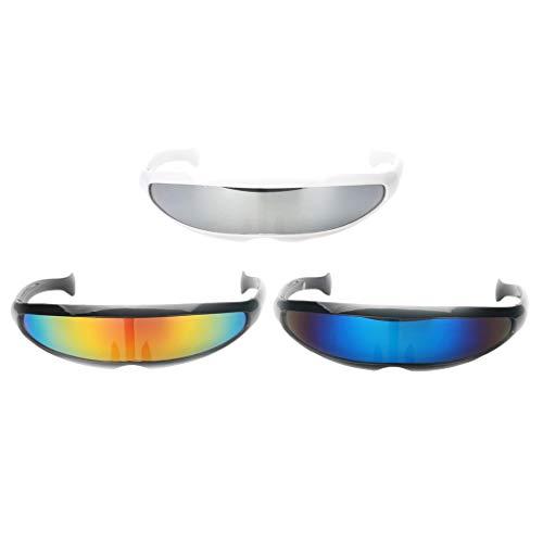 Baoblaze 3 teilig Futuristische Cyclops Sonnenbrille verspiegelte Partybrille -