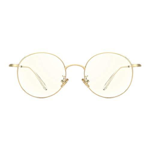 TIJN Damen Anti Blaulichtfilter Brille Retro Metal Round Brillen Rahmen Computer Brille