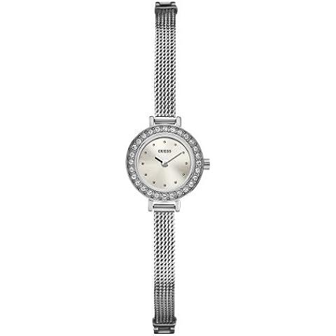 Guess W0133L1 - Reloj analógico de cuarzo para mujer con correa de acero inoxidable, color plateado