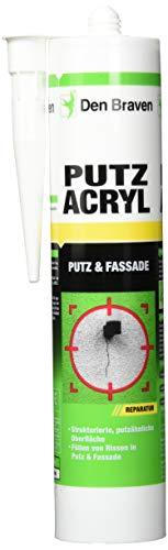 Den Braven CAS33A504002 Den Putzacryl (+5° bis +40C), Gute Haftkraft, strukturierte, putzähnliche Oberfläche, streichbar, hochwertiger Dichtstoff