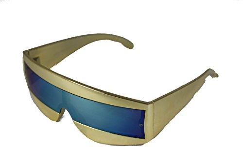 Robot Cyclops Wrap Sonnenbrille 80's Devo RAF87 (GOLD)
