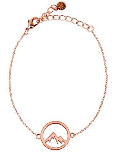 VIASOUL® Armband Berge für Damen I Berg Kette mit 585er Gold überzogen I Die Original Mountain Love Kette (Rose)
