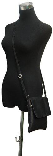 Artisanal en cuir souple italien petit et moyen Messenger Cross Body ou sac à main.Comprend un sac de rangement protecteur marque. Petit Noir