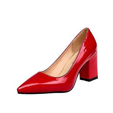 RTRY Donna Comfort Tacchi Pu Estate Abbigliamento Casual Blocco Tacco Borgogna Arrossendo Rubino Rosa Bianco Nero 2A-2 3/4In US8 / EU39 / UK6 / CN39