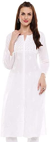 Indiankala4u Lucknow Chikanakri hand embroidered Angrakha long kurti For Women Plus Size
