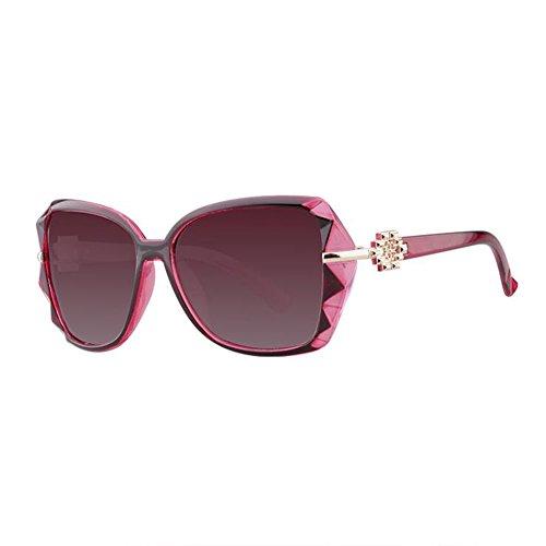 Sunny Honey Elegante Sonnenbrille Mit Großem Gestell - Polarisierter Sonnenschutz UV-Schutz - Hochwertige Damenbrille (Farbe : Weinrot)