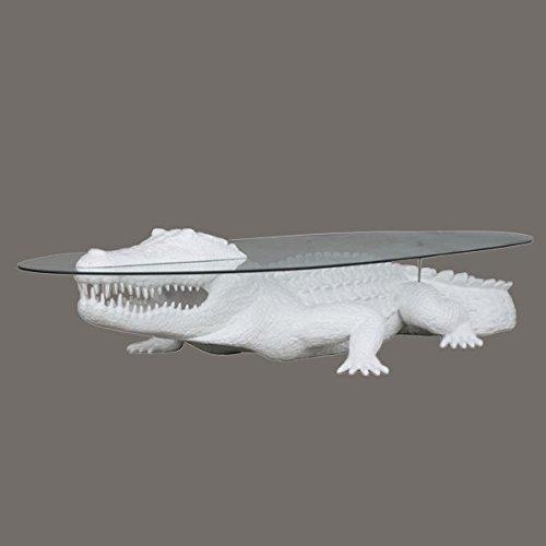 Crocodile comme table basse 56 cm picorent pour l'extérieur Blanc en fibre de verre haute qualité plastique (GFK)