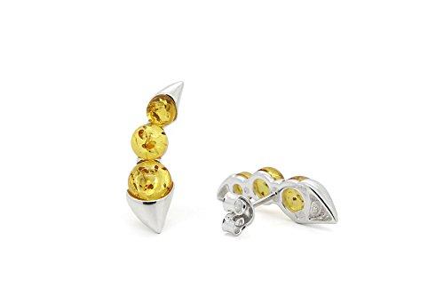 Argento sterling 925Climber/Crawler orecchini per donne con vera ambra baltica naturale., Argento, colore: Honey, cod. AD517EAR1h