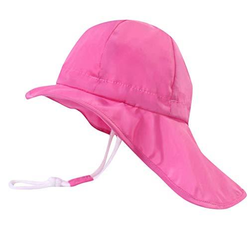 Sonnenhut mit Nackenschutz für Baby Mädchen Anti-UV UPF50+ Sommerhut für Strand, Schwimmbad, Angeln, Reise, Ausflug Hut mit Kinnriemen verstellbar