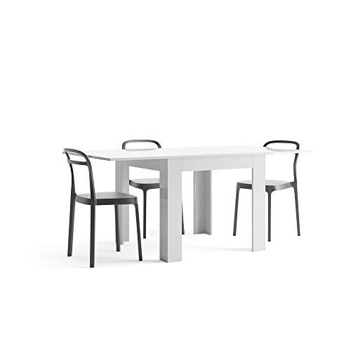 Mobili Fiver Eldorado, Tavolo Allungabile, Nobilitato, Eldorado, Bianco Lucido, 90 x 90 x 77 cm