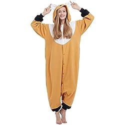 Pijama Animal Entero Unisex Kigurumi para Adultos con Capucha Cosplay Pyjamas Naranja Zorro Ropa de Dormir Traje de Disfraz para Festival de Carnaval Halloween Navidad