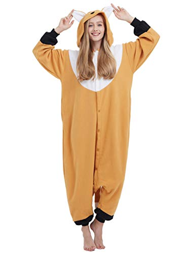 Jumpsuit Onesie Tier Karton Kigurumi Fasching Halloween Kostüm Lounge Sleepsuit Cosplay Overall Pyjama Schlafanzug Erwachsene Unisex Orange Schnabeltier for Höhe 140-187CM