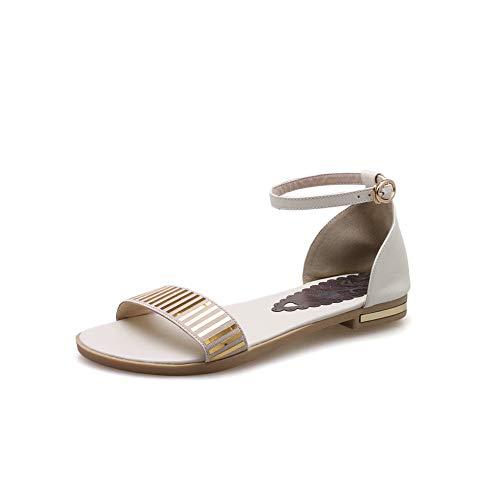 Aimint Damen EYR00491 Sandalen mit flachem Zehenbereich, oberer Schnitt, quadratischer Zehenbereich, Beige - beige - Größe: 37 EU (Caged Keil Sandalen)