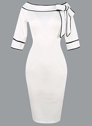 Bigood Sexy Femme Slim Robe Crayon Nœud à deux Boucles Hanche Jupe Élastique Blanc