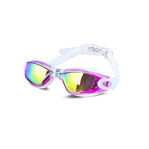 Schwimmbrille mit verstellbaren Silikon-Bändern - Taucherbrille - Anti-Beschlag, UV-Schutz, wasserdicht - für Erwachsene und Kinder Free Size violett