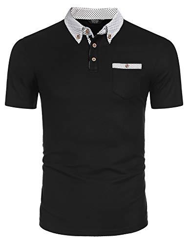 Qioti Herren Tshirt Poloshirt Kurzarm Polohemd Regular Fit Männer Shirt Sommer, XL, Schwarz