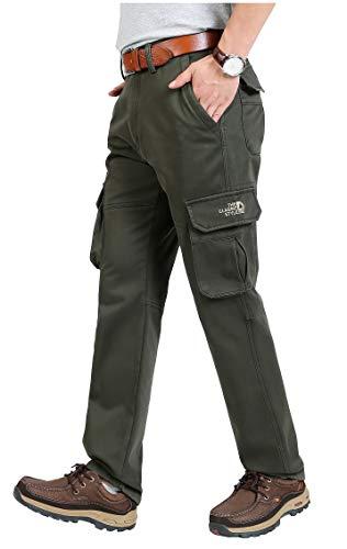 Tofern Herren Hose Cargohose Fleece gefüttert mit Seitentaschen warm wasserdicht für Winter wandern Outdoor, Grün EU 52 (Label 38) - Wasserdichte Cargo