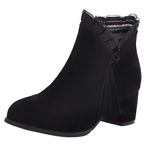 Dorical Damen Stiefeletten Chelsea Boots mit Keilabsatz Profilsohle Flandell Kurz Damenstiefel mit Quaste Spitze Reißverschluss Schuhe Booties Schwarz, Beige Gr 35-43(Schwarz,36 EU)