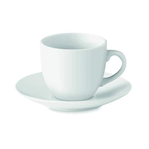 PromotionGift Tasse et sous Tasse en Porcelaine 80 ML, Blanc