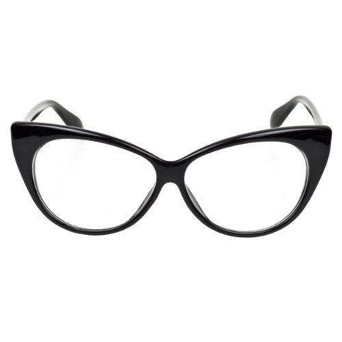 iB-iP - Eleganti occhiali da donna con lenti trasparenti e montatura a occhi di gatto Black Taglia unica