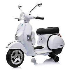 LAMAS TOYS Tecnobike Shop Moto Scooter Elettrico per Bambini Ufficiale Piaggio Vespa PX 150 12V con Rotelle Sella in Pelle Nero/Beige Crema (Bianco)
