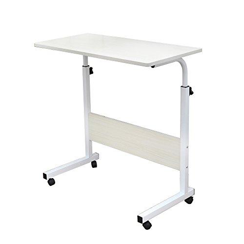 SogesFurniture Mesa Portátil Ordenador Ajustable con Ruedas, 60 * 40cm Mesa sofá Mesa de Escritorio para Cama o Sofá, Arce Blanco 05#1-60MP-BH
