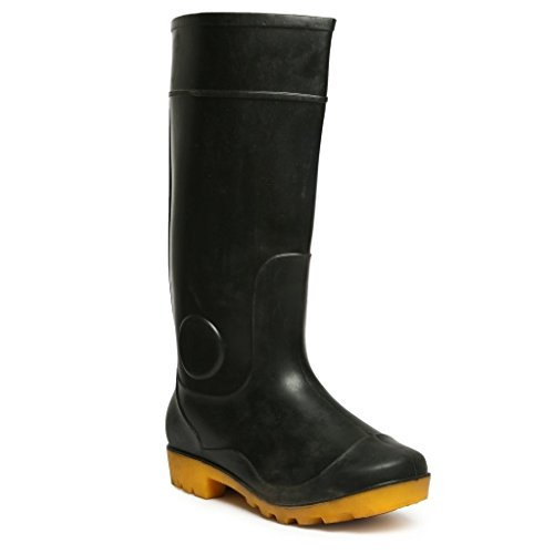 Hillson Century Safety Gumboots, Black/Yellow, Size 9