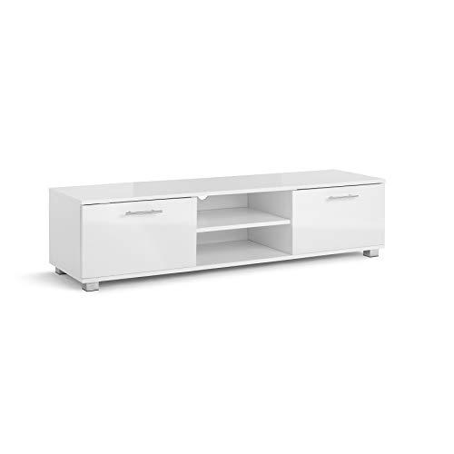 TV-Schrank für 4K-Bildschirme, glänzend, 120 cm breit, für 32/40 / 42/49 / 55 Zoll, Weiß