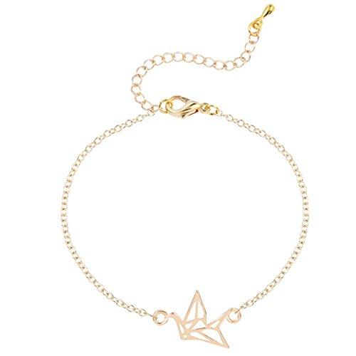 Origami Hohle Hängende Armband Handgelenk Dünne Kette Süße Kleine Frische Tier Armband,Gold-M (Tier-stulpe-armband)