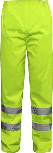 normani Regenhose Überhose Warnschutz Regenbundhose mit Reflexstreifen Farbe Neongelb Größe M